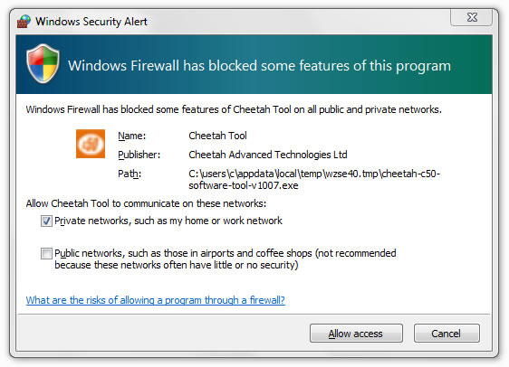 C50 software tool - allow firewall access